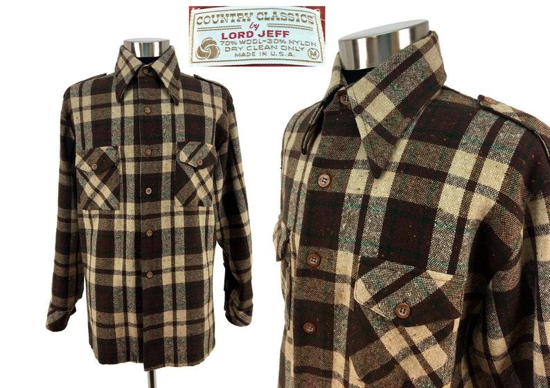 1737a559 Vintage 70s Tartan Plaid Wool Blend Flannel Shirt MEDIUM | Etsy