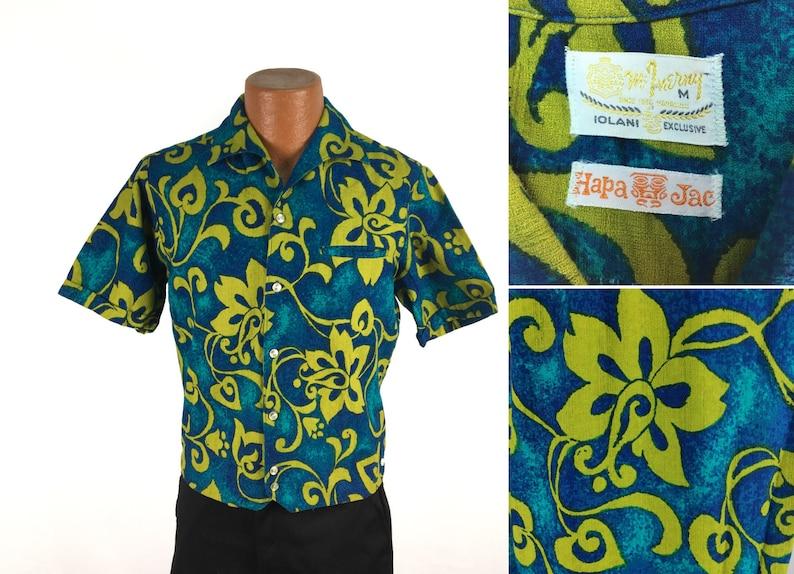 f0b48498cbb6 Vintage 50s 60s Iolani Floral HAWAIIAN Shirt Medium Hawaii | Etsy