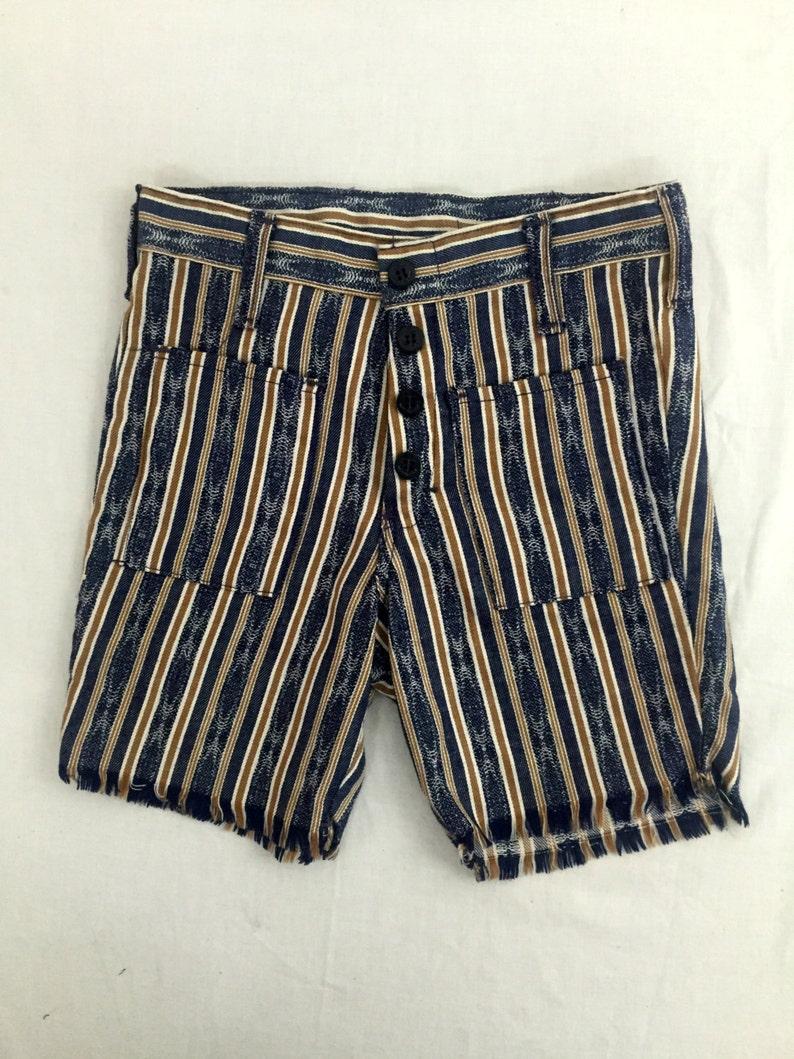 Vintage Kids/' 70s Striped Denim Shorts Size 12 High Rise 1970s Blue /& Tan High Waist NOS Deadstock Summer kids buttonfly raw hem cutoff