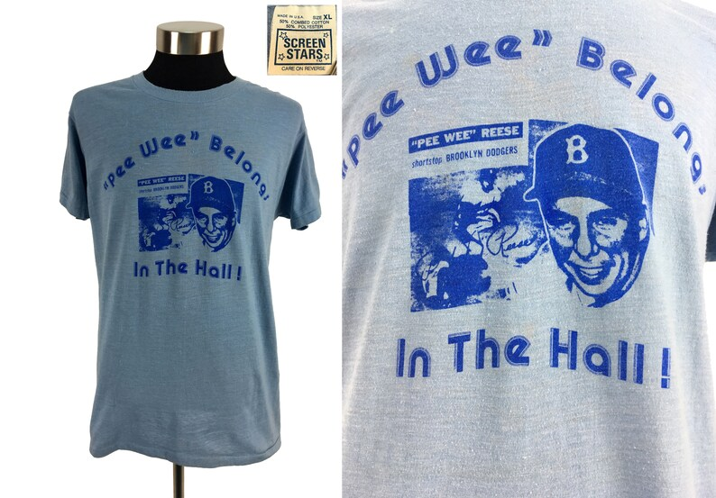 Vintage 1970's Brooklyn Dodgers Pee Wee Reese T-Shirt XL // Screen Stars //  Hall of Fame // MLB // Baseball // Brooklyn // 70s // V Rare