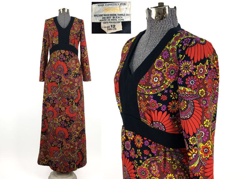 f5149723611 Vintage 70s Groovy Floral Maxi Dress by Sears Size 12    1970s