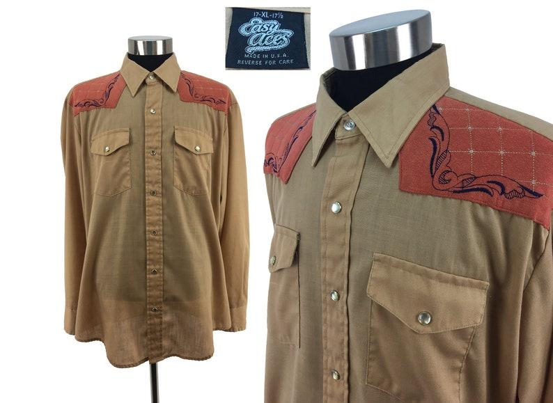 2356a17dbea4cb Vintage 70s 80s Western Snap-Down Shirt XL   pearl snaps tan burnt orange  1970s 1980s rockabilly ranch country western mens cowboy throwback
