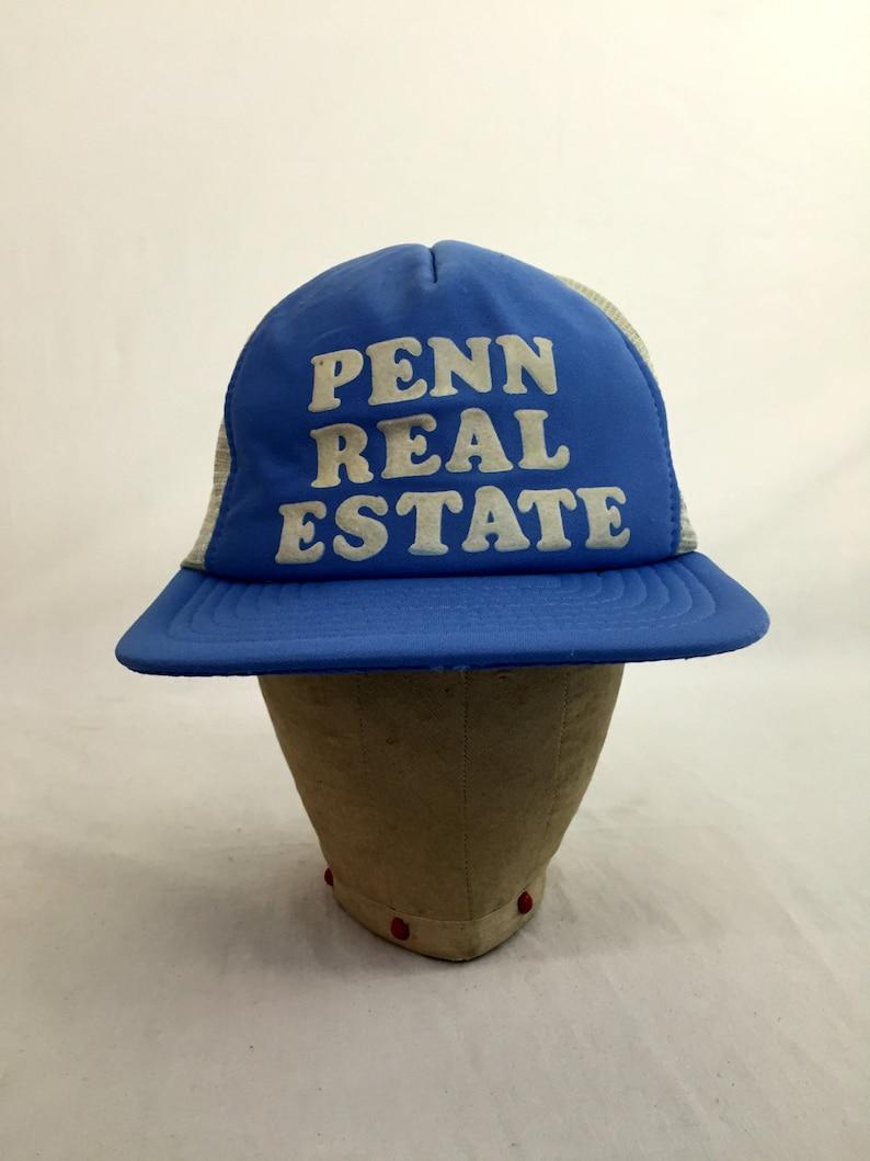 df7bbab4 Vintage 80s Penn Real Estate Snap-Back Trucker Hat // Snapback | Etsy