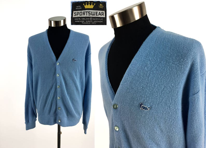 311397ef39 Vintage 70s Sportswear TURTLE Acrylic Cardigan Sweater XL