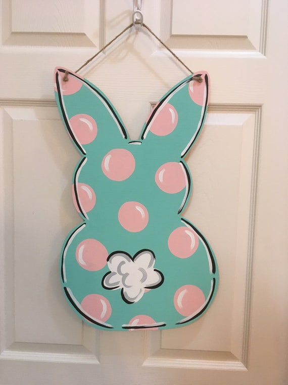 Large Bunny Door Hanger Spring  Door  Spring Colors  Polka Dots  Bunny