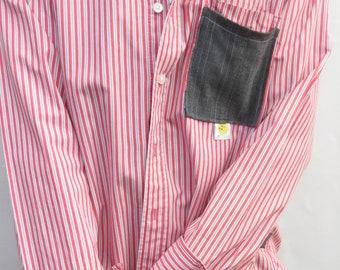 ON SALE!!!!!!!! Blokes Unique Double Pocket Red and Grey Pinstripe Shirt