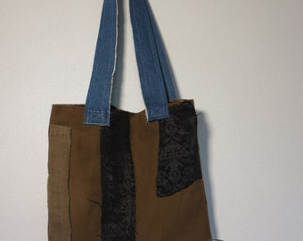 Two Tone Brown Up-cycled Denim Patchwork Tote Bag