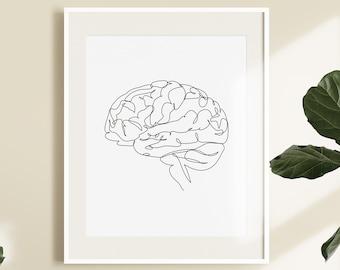 Anatomical Brain Drawing Print, Anatomy Brain Printable, Medical Art, Doctor Office Decor, Brain Poster, Line Sketch, Psychology Art.