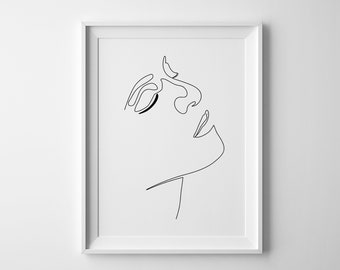 Simple Hand One Line Drawing Printable Hand Pose Black And Etsy