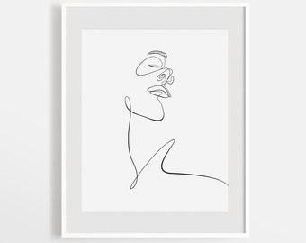 Minimalism Face Sketch Print, Printable One Line Drawing, Simple Single Line Face Artwork, Minimal Woman Face Wall Art, Scandinavian Decor.