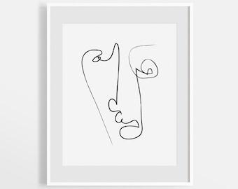 Modern Abstract Line Drawing Print, Face Illustration Sketch, Continuous Single Line Art, Minimalist Print, Minimal Decor, Digital Print.