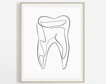 Abstract Dental Art Print, Printable Tooth Line Art, Dental Office Decor, Hygienist Artwork, Medical Wall Art, Drawing Illustration, Sketch.