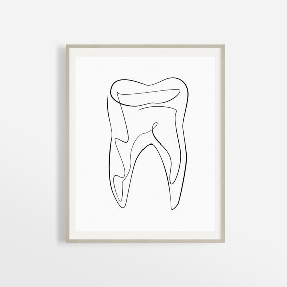 photo about Printable Tooth titled Summary Dental Artwork Print, Printable Enamel Line Artwork, Dental Business Decor, Hygienist Art, Health care Wall Artwork, Drawing Case in point, Sketch.