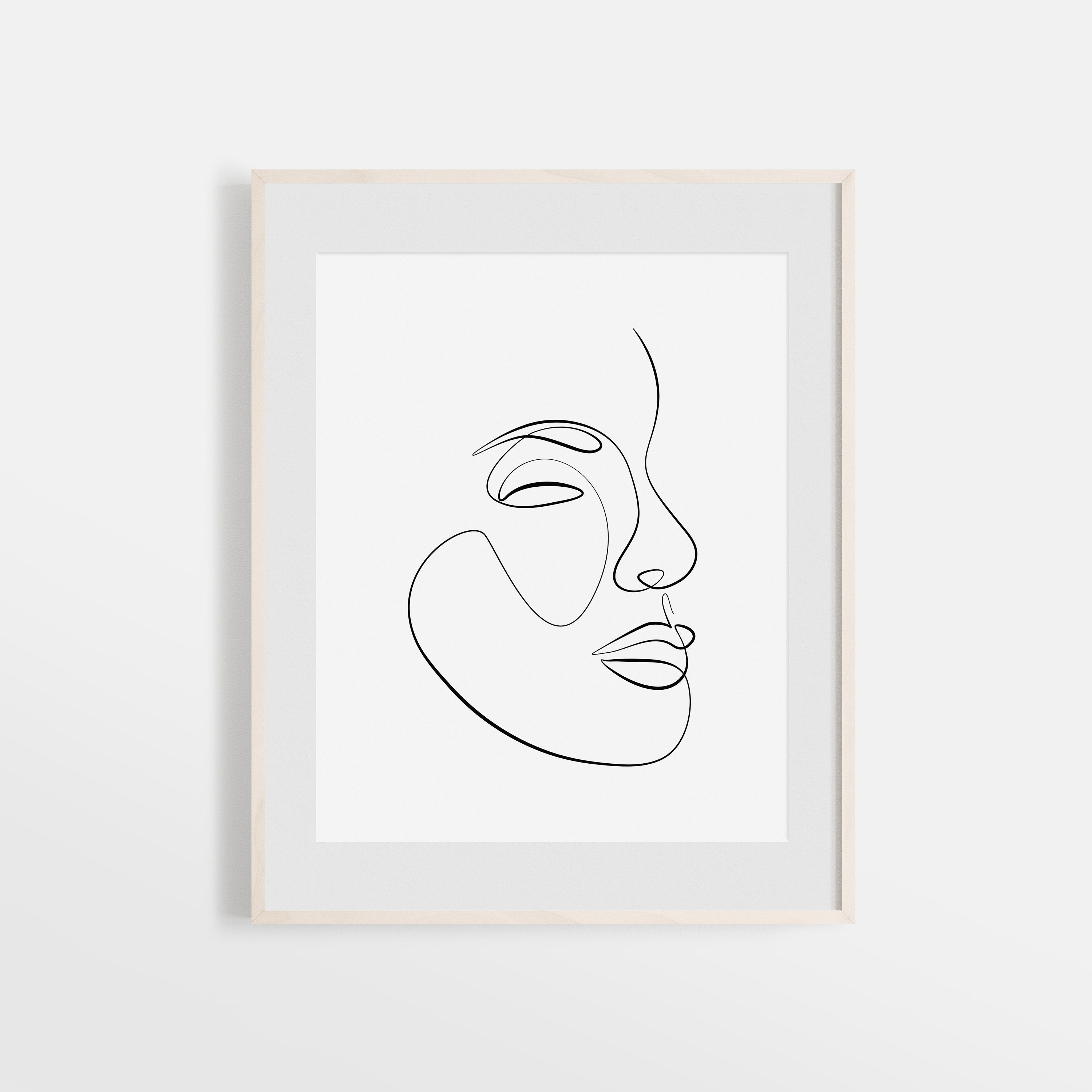 One Line Face Drawing Printable Art Abstract Facial Line Art   Etsy