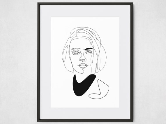 Dessin Dune Ligne Simple Fille Imprimable Moderne De La Mode Etsy