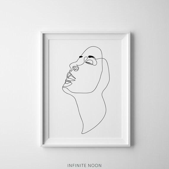 One Line Minimal Female Face Line Printable Illustration Etsy