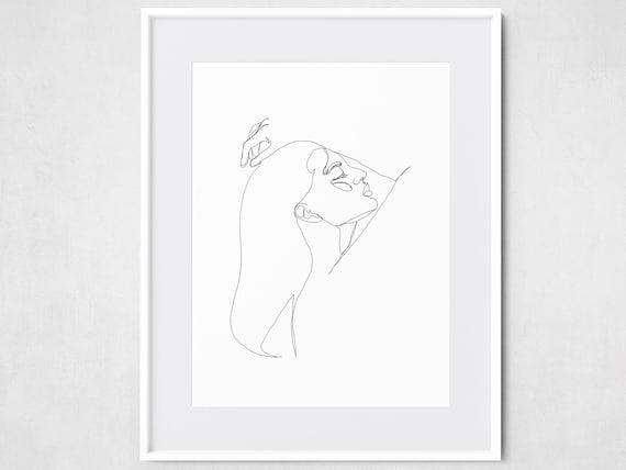 Single Line Woman Pose Printable Art Rough Fashion Sketch Etsy
