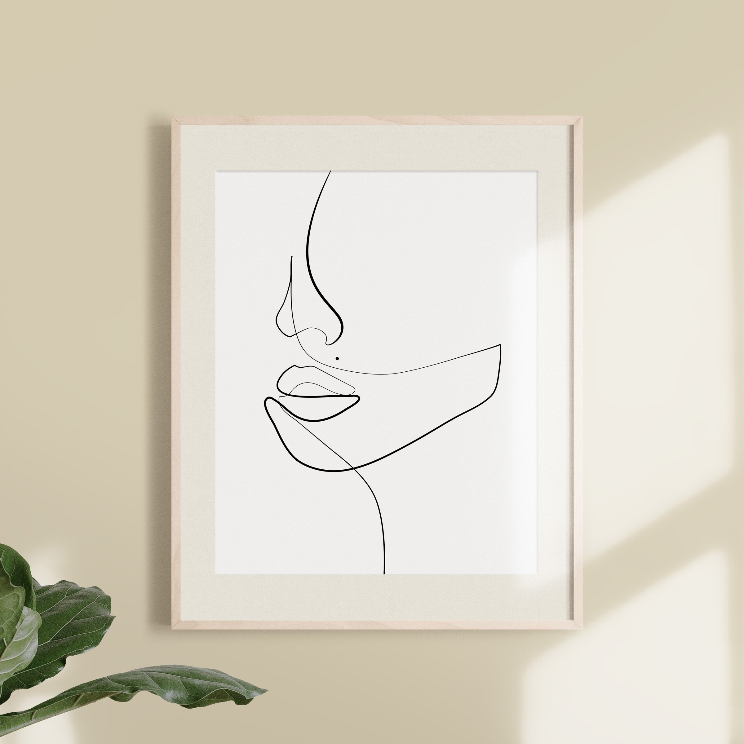 Woman One Line Drawing Face Figure Abstract Simple Line   Etsy