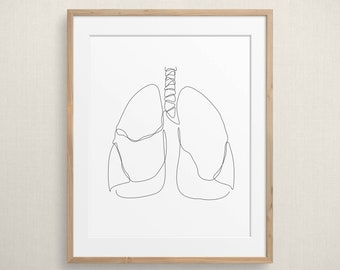 Abstract Lung Line Art Printable, Minimalist Respiratory One Line Drawing, Human Lungs Sketch Wall Art, Medical Art Print, Medicine Decor