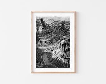 Fine Art Print | Marble Canyon Arizona Monochrome Series 1/6 | Southwest Art | Black and White Watercolor and Gouache