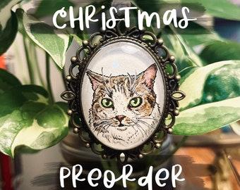 CHRISTMAS PREORDER | Pet Portrait Ornament | Custom Mini Painting | Pet Parent Gift | Pet Memorial