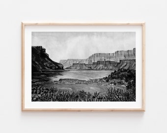 Fine Art Print | Marble Canyon Arizona Monochrome Series 2/6 | Black and White Watercolor Gouache | Southwest Art