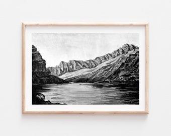 Fine Art Print | Marble Canyon Arizona Monochrome Series 4/6 | Black and White Watercolor Gouache | Southwest Art