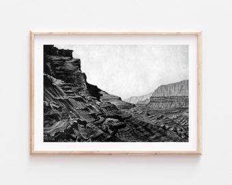 Fine Art Print | Marble Canyon Arizona Monochrome Series 5/6 | Black and White Watercolor Gouache | Southwest Art