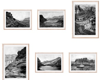 Set of Six Fine Art Prints | Marble Canyon Arizona Monochrome Series | Southwest Art | Black and White Watercolor and Gouache