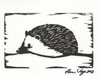 Hedgehog cute animal woodland linocut hand pulled print 5 x 7 Paper option