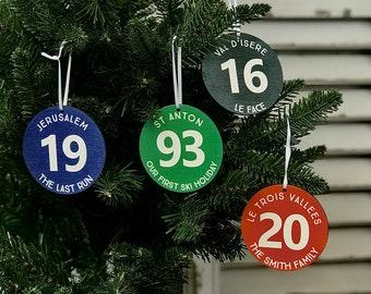 Personalised Skiing Piste Marker Christmas Decoration