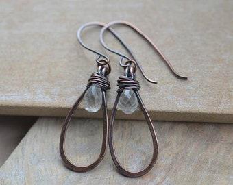Handmade Copper Earrings with Moonstone Briolette Gemstone Beads, UK Seller
