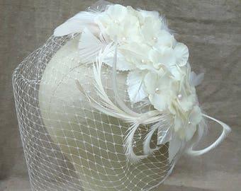 Bridal headpiece bird cage veil wedding vintage bride Fascinator feathers Hydrangea freshwater pearls Boho romantic elegant flowers ivory