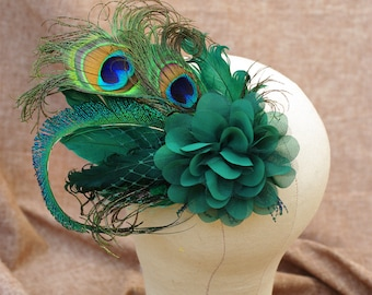 headpiece Fascinator deep green Peacock feathers burlesque bridal wedding bridesmaids boho bride veil hair flower fifties style rockabella