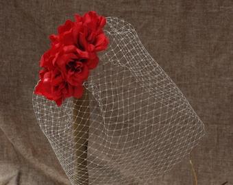 Bridal headpiece bird cage veil wedding vintage bride Red roses Lover Fascinator poppy red romantic short veil ivory off white