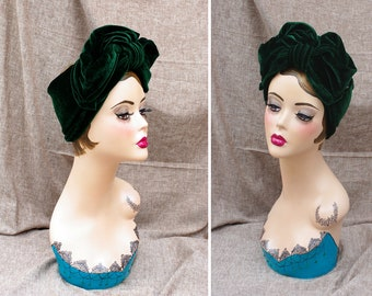 Urban turban DIVA deepgreen VELVET Headband Vintage fifties forties 40ties 50ties  style Retro 1940 1950 Bow elegant extravagant forest