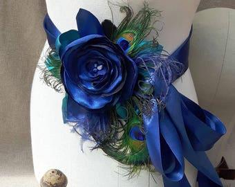 Bridal Sash & headpiece wedding something royal blue belt Flower vintage Bride peacock edwardian Bridesmaid unique feathers turquoise navy