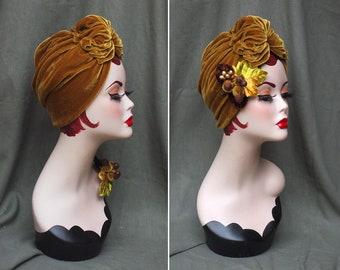 GOLD / Golden velvet : Full cap Turban & Brooch // Golden twenties // Vintage 40s 30s 20s // Retro Art Nouveau // Turban Hat // Jazzafine