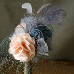 blush & gray fascinator headpiece peachy millinery bridal bride veil feathers bridesmaid wedding grey soft pastel customizable peacock