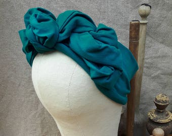 Turban Headband Style Vintage inspired fifties forties 40ties 50ties teal grey gray oliv green army Retro 1940 1950 headwrap different color