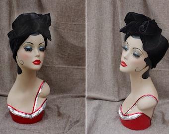 Black VELVET urban Turban Halloween Morticia Addams Style Headband Vintage fifties forties 40ties 50ties Retro  Bow gothik Diva Party