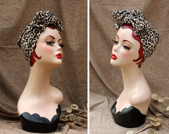 Wild thing! Turban Headband for Leo Lovers! Vintage forties Style 40s animal print leopard Pin Up Rockabilly Worker Retro Bow diva GIFT idea