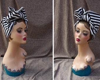 MARINE Blau weiss Turban Headband Turbandband Haarband Vintage fifties forties 40-er 50-er Fünfziger Haarschmuck Kopftuch Strifen gestreift