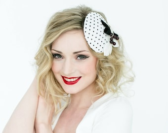 Headpiece Fascinator bride pillbox black & white rockabella Vintage fifties polka dots bridal berries minimalistic 50ties Wedding retro