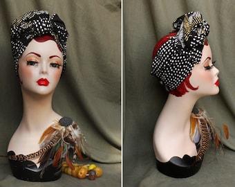 black, white & gold AFRICA turban headband // Urban style headwrap // African pattern geometric // dots stripes Bandana by Jazzafine