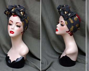 grey & gold ANANAS turban headband 30s 40s // Urban Diva Vintage style // Retro worker headwrap Pin Up bee // gray Turbanhat by Jazzafine