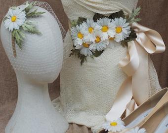 Bridal headpiece bird cage, sash & shoe clips with vintage daisies / summer wedding fascinator / romantic veil 50s style accessories