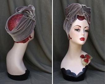 Elegant velvet Turban // gray grey Headband // Vintage DIVA 30s 40s 50s style // Retro Bow elegant // Gift idea for her
