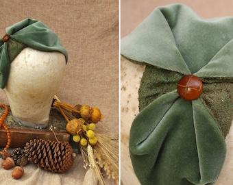 Pale green Velvet & Silk Half Hat // Sage green Headpiece Vintage 30s 20s Art Deco // Headband Fascinator red hair // fall autumn colours