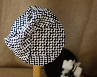 Houndstooth black & white hat fascinator vintage pillbox headpiece Pin Up Hair BOW wool tweed accessories hound's-tooth check